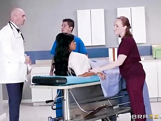 Buxom dark-hued spread out with a adorable tat, Mary Jean is taking her doctor's massive man-meat, in his place