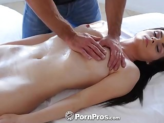 Super Hot brown-haired honey, Haven Rae is getting an glamour rubdown, while on the rubdown table