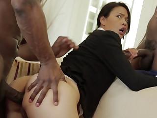 Hot Asian Milf in BBC Threesome
