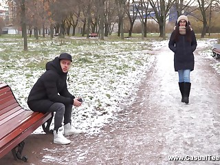 Long haired gloom Russian teen Anxiety Knock gets a mouth full of cum