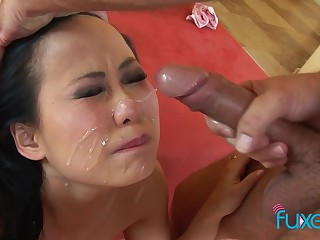 Niya Yu Asian MILF facial realizing on her alluring Asian facet
