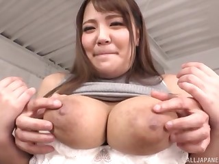 Leader Japanese Housaki Yua lets a guy strip her and bit with her tits