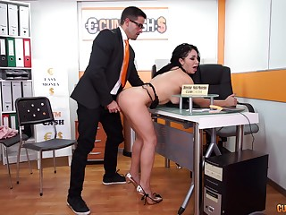 Long haired slutty scrivener Evita Love sucks her bosses cock at work