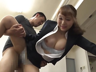 Busty Japanese sexretary gets banged by horny boss in transmitted to office