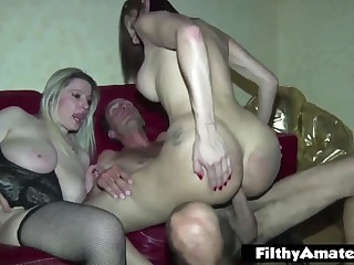 With the Milfs plus the shemale! Nasty amateur orgy!
