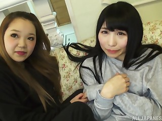 Japanese hardcore FFM threesome to four teen babes and an older guy