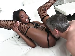 Dazzling leggy ebony hottie Chanel Skye is analfucked hard by white stud