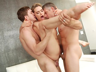 Blonde bombshell babe Mia Malkova ravaged unconnected with two guys