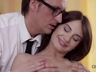 Daddy is happy to see his pretty babe coupled with fucks hard
