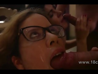 Two spunky brunettes acquiring fucked in the kitchen