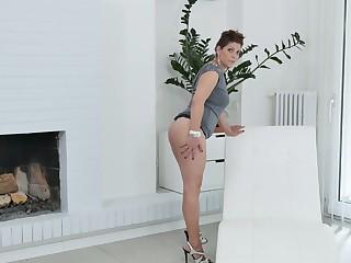 Lecherous BBW Nicol masturbates her sex-hungry twat spreading legs unbooked