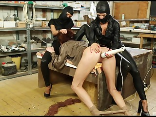 Masked lesbian sluts revile Bella Baby connected with toys in the kitchen