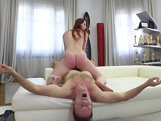 Slutty Charlie Red bounces her chubby round ass on a fat dick