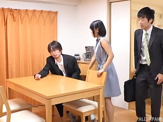 Amateur Japanese babe pounded on the kitchen table