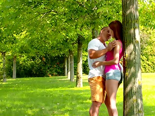 Mechanical sex respecting be imparted to murder park with yummy ginger girlfriend Nikki Fox