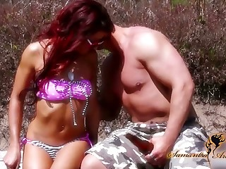 Depraved bitch Nikki Lips is fucked wide of one kinky stranger on the beach