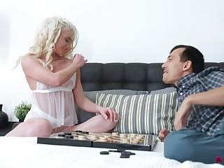 Yummy blond babe Angelika Cristal is having crazy quickie with her whilom before boyfriend