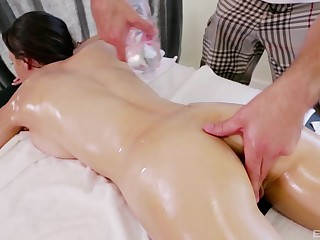 Brunette oiled up babe Victoria Rae Baneful massaged and fuck
