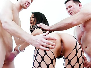 Asian starlet deals two monsters in thorough modes