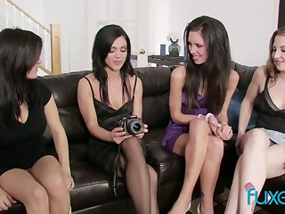 Historic pansy orgy featuring four oversexed beautiful girlfriends
