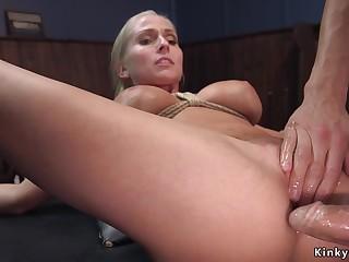 Big bowels blond hair lady agent assfucking had lovemaking in bondage