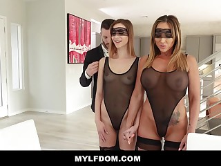 Big-Chested dame and say no to bananas step- daughter-in-law are having a three way in be passed on late afternoon