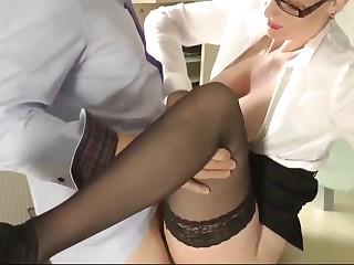Pleasant Wife In Glasses Pleasing The brush Big gun After Pretence