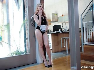 Blonde grown up blue eyed well turned out MILF Kai Taylor fucked standing up