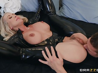 50 y.o. mature main in latex catsuit getting fucked hard by a young baffle