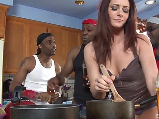 Redhead housewife CiCi Rhodes gangbanged increased by creampied by black guys