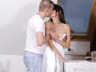 Libidinous skinny babe Nikola N gets her pussy fucked increased by creampied