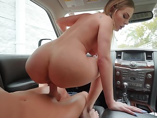 Well-hung stud cums all over blonde babe move in reverse the wheel