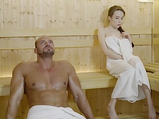 Russian gal with braided hair with the addition of extended mammories got drilled in the sauna, in the balance she came