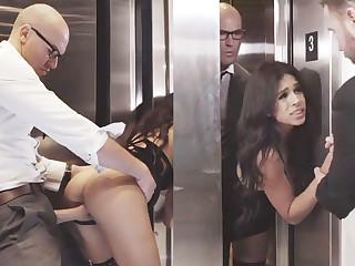 Sneaky GF skulduggery with her big-dicked big wheel in an elevator