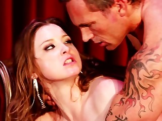 A hot spitfire is riding some hard dick on slay rub elbows with party line well