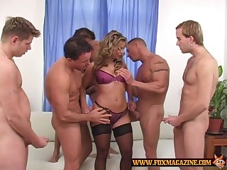 Lucky guys take turns at fucking Liliane Tiger while she moans