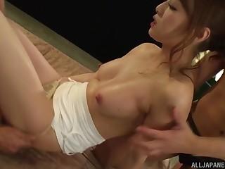 Hardcore threesome with Japanese in skivvies Yoshizawa Akiho