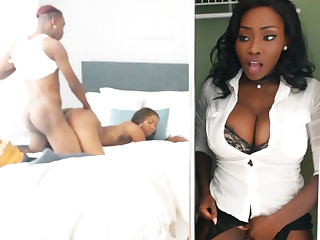 Young ebony have intercourse while stepmom in closet
