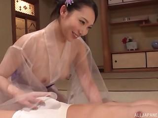 Japanese MILF Kichikawa Ren Sprayed by two loads in a peignoir