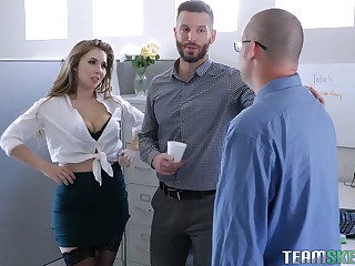 Sultry office babe Lena Paul hooks at hand with one of her co-workers