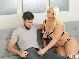 Adult blonde MILF Alura Jenson gives an awesome titjob and gets cum