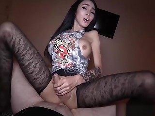 Pretty Korean ladyboy take sexy pantyhose gets fucked