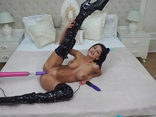 Amazing busty babe Anisyia use fuck machine for orgasm!