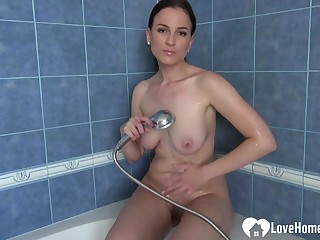 Cutie in the shower loves to curtail herself