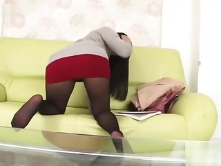 Japanese MILF chilly teacher doesn't hide panties in this miniskirt ...