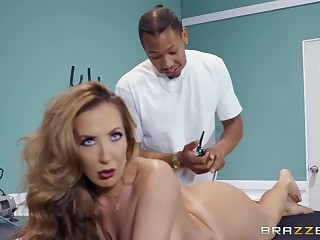 Richelle Ryan gets their way pussy fucked and fingered all over the massage arena