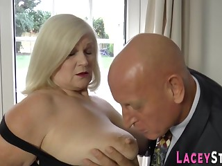 Knob sucks grandma bore had intercourse - heavy hooters