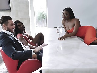 Interracial group fuck is transmitted to favorite sex game be worthwhile for Evi Rei and Ana Foxxx