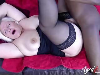 BBC boning granny concerning her slick white pussy