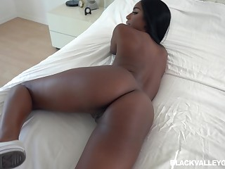 Ebony beauty shares passionate POV with her white lover